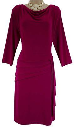 XL X-LARGE NWT SEXY Womens BERRY DRAPED CASCADE DRESS Wedding Day/Evening NEW…