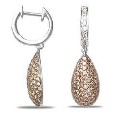 Ladies 1CT Brown and White Diamond Earrings in 14k White ...…