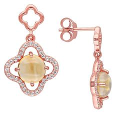 1.2 CT. T.W. Citrine with Cubic Zirconia Quatrefoil Earrings in Rose Plated Sterling Silver, Women's, Yellow