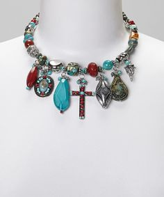 Turquoise & Red Beaded Charm Necklace by Treska #zulily #zulilyfinds