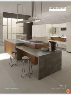 Beton w kuchni, aranzacja mebli kuchennych