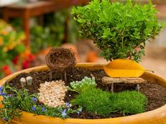 Fairy Garden! So cute!!  Create a fanciful garden that's sure to attract fairies. Your kids will love fashioning the perfect little outdoor room, complete with moss, flowers and furniture — and the best part: It's all in a single container.