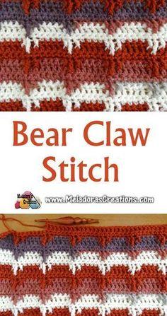 Meladora's Creations: Bear Claw Crochet Stitch - Free Crochet Pattern tutorial and video. Crochet Stitches Free, Afghan Crochet Patterns, Knitting Stitches, Stitch Patterns, Crochet Afghans, Sock Knitting, Knitting Machine, Crochet Blankets, Crochet Granny
