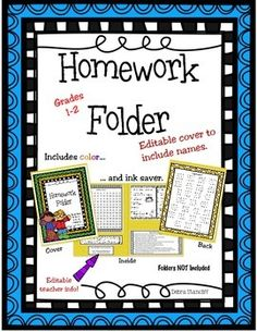 Homework folders are a great way to help keep kids organized, communicate with families, and provide instructional resources at home.  These homework folders are editable so you can personalize them with student names and your contact information. The folders are not included. This includes all the printables necessary for fabulously helpful folders.$