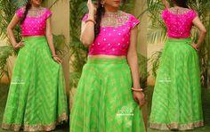 Half Saree Lehenga, Kids Lehenga, Brocade Lehenga, Sarees, Pink Saree Blouse, Lehnga Dress, Crop Top Dress, Crop Top Outfits, Long Gown Dress