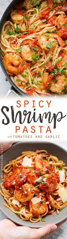 Spicy Shrimp Pasta with Tomatoes and Garlic. Follow us @SIGNATUREBRIDE on Twitter and on FACEBOOK @ SIGNATURE BRIDE MAGAZINE