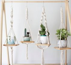 Wooden Macrame Shelf