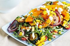 Roast pumpkin and zucchini salad with blackened corn | Total Wellbeing Diet