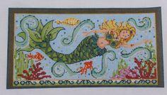 Kelly Clark Needlepoint Swimming Mermaid Hand Painted Needlepoint Canvas | eBay