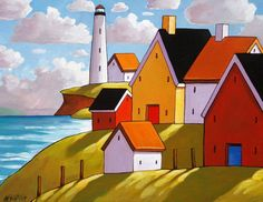 Lighthouse Coast Hillside Cottages, Folk Art Print Landscape, Modern Reproduction Giclee Artwork by Cathy Horvath - Available in 2 sizes