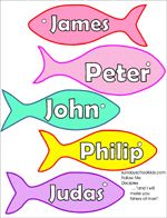 12 Disciples Fish Pattern and crown for Jesus Bible School Crafts, Preschool Bible, Bible Activities, Bible Crafts, Bible Games, Vbs Crafts, Church Activities, Sunday School Projects, Sunday School Activities