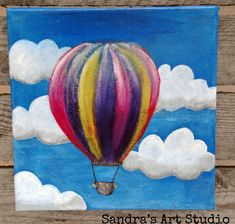 Cute painting of a little hot air balloon, acrylic paint on canvas 7 7/8 x 7 7/8 inch