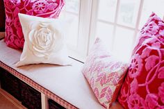 would be perfect for my living room :) Cute Pillows, Pink Pillows, Throw Pillows, Cream Pillows, Floral Pillows, Accent Pillows, Magenta, Flower Pillow, Rose Cottage