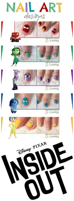 Inside Out Movie: Nail Art Designs. Free PDF's to download and print. #nails #nailart #naildesigns