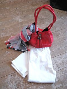 A red leather reversible bag - navy suede on the reverse side teamed with a nautical scarf and a pair of Real Women, Amazing Women, Coastal Colors, Dartmouth, Nautical Theme, High Waist Jeans, Red Leather, Bucket Bag, Fashion Forward