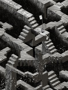 A community gallery of artwork made with Marmoset Hexels, celebrating the geometric / isometric / pixelated / animated / vectorized / noterized works of wonder made by artists over the years. Stair Art, Geometric 3d, Isometric Art, Vanishing Point, Game Concept, Black And White Illustration, Game Character, Pixel Art, Game Art