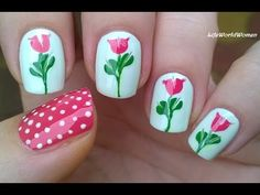 TOOTHPICK NAIL ART #12 - Drag Marble Flower Nails - YouTube