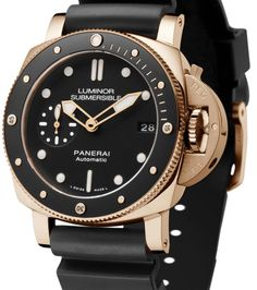 Panerai Submersible 1950 : 42 mm et en or ! Best Watches For Men, Luxury Watches For Men, Cool Watches, Elegant Watches, Beautiful Watches, Panerai Luminor Submersible, Panerai Watches, Sport Watches, Or Rouge