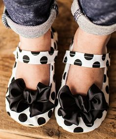 This Gracious May Black & White Classy Polka Dot Bow Mary Jane by Gracious May is perfect! #zulilyfinds