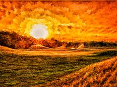 Sunrise over three green at Purgatory Golf Club, hand painted with Corel Painter 12, with various size dense sponges.