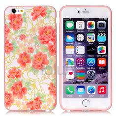 IMD Craft Soft TPU Back Case for iPhone 6 Plus 6S Plus - Red Flowers Pattern