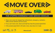Know what to do when an emergency vehicle is parked on the side of the road? If not, read up on the Move Over Law in Florida here. #MoveOverFL #Florida #Legal #Laws #Driving #Safety #Tips