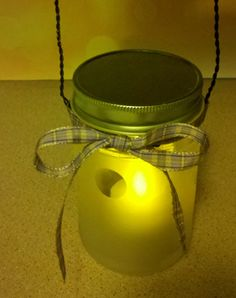 How to: Frosted Glass Lantern [UpCycle Guzmans Salsa Jars] #howto #craft #masonjars