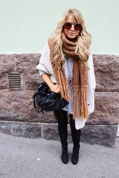 Street Style chunky scarf