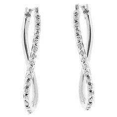 14Kt. White Gold Diamond Accent Wave Hoop Earrings - White