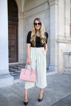 Workwear Wednesday: pinstripe cropped wide-leg trousers from Nordstrom with simple black knit from Ann Taylor. Elevate your professional wardrobe with this chic office-ready outfit from Nordstrom and Ann Taylor. Look no further for the ultimate business casual outfit inspiration. How to pull off pinstripes at the office.