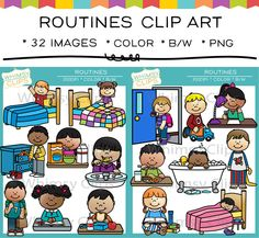 Routines clip art that is great for schedules or teaching about life skills! This set includes 16 color images and 16 black & white images in png.