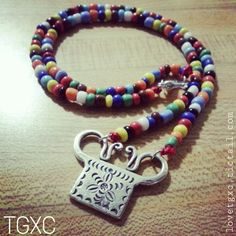 Beaded Fine Silver Lucky Soul Lock Necklace via TGXC. Click on the image to see more!