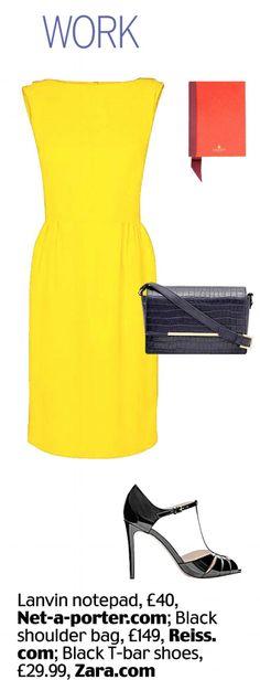 work style. yellow dress.