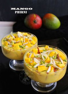 Mango phirni is an Indian rice pudding or rice kheer with full cream milk, basmati rice and mangoes as the main ingredients. Mango phirni is yet another variation of the popular indian dessert phirni recipe . As this is the best time to share mango recipe Indian Desserts, Indian Sweets, Indian Food Recipes, Vegetarian Recipes, Cooking Recipes, Mango Recipes Indian, Mango Custard Recipe Indian, Easy Indian Dessert Recipes, Indian Appetizers
