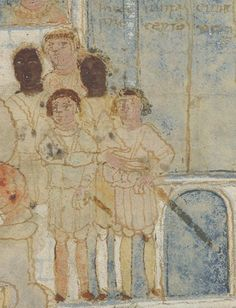 Detail of Pharaoh's guards from Folio 56r - The Hebrews forced to build an Egyptian city, 6th or 7th Century, Ashburnham Pentateuch