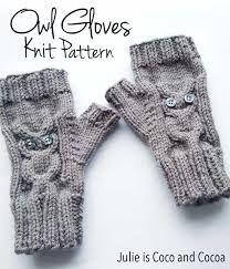 Afbeeldingsresultaat voor owl fingerless gloves knitting pattern free