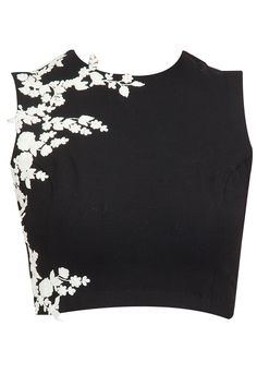 Black crop top with ivory floral detailing available only at Pernia's Pop-Up Shop.