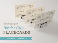 Learn how to turn an inexpensive office supply into an elegant place card for your wedding tables. The tutorial includes free printable templates. Tie The Knot Wedding, Plan Your Wedding, Diy Wedding, Table Wedding, Wedding Tips, Wedding Reception, Wedding Seating, Wedding Details, Wedding Places