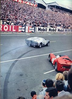 Laying stripes at Le Mans - 1966  Witness the Alan Mann Racing Ford GT40 MkII go and get all American at the start of the 1966 Le Mans 24 Hours. The Ferrari 330 P3 Spyder is the red car with torque envy.  Ironically, this American display of power was delivered by a British run team, with drivers Graham Hill (British) and Brian Muir (Australian)  Neither car would finish.