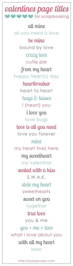 valentines and love scrapbook ideas | valentines scrapbook page titles