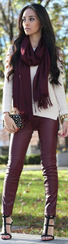 Latest Street Style Strends Burgundy Pants and Scraf Easy Going Outlook