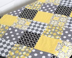 Reserved for Kelli - Grey and Yellow Baby Patchwork Minky Blanket, Baby Quilt
