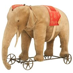 """Original Antique """"Steiff"""" Mohair Elephant Pull Toy (early 20th Century)"""