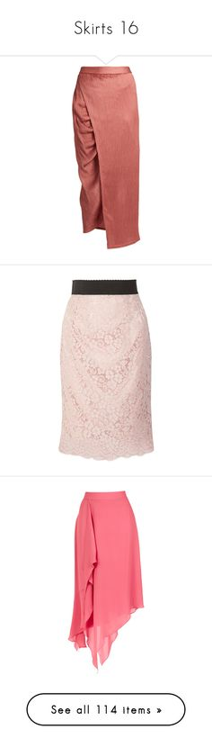 """""""Skirts 16"""" by coollavinia ❤ liked on Polyvore featuring skirts, bottoms, pink, ruched skirt, shirred skirt, crinkle skirt, ruched midi skirt, red satin skirt, pink lace skirt and pastel midi skirt"""