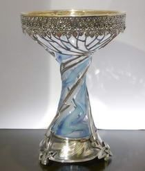 Russian Art Nouveau Silver and Crystal Vase