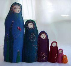 embroidered felt matryoshka dolls