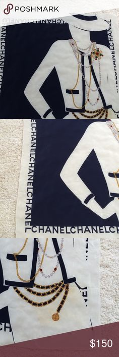 Chanel vintage silk scarf with CoCo silhouette Classic Chanel 32 X 32 inch scarf with iconic silhouette. Hand-sewn edges. Scarf is at least 25 years old. It has  been tucked away but has discoloration on the chain belt area and small stain on upper left. A skilled laundress may be able to lift those or you can camouflage by tying the scarf since there are nine Chanels around the border. Chanel Accessories Scarves & Wraps
