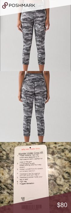 """Lululemon Wunder Under Crop (Hi-Rise) Worn a handful of times. No defects, still in perfect condition with rip tag attached. 21"""" inseam. Color is luon hazy days black white. Sold out online. lululemon athletica Pants"""