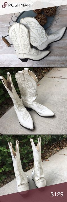 "Justin Cowgirl Boots, Made in USA, Gently Used Leather Cowgirl pointed toe, 12"" Uppers, scuff marks on toe and heel area. Gently used Condition, ""broke in but not broken"", these boots are made for walkin' Justin Boots Shoes Heeled Boots"