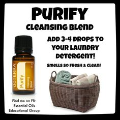 I love adding essential oils to my laundry- simply add 3-4 drops to the washing machine when you add your detergent. Some essential oils that work great for laundry: Purify, lemon, lavender, wild orange, lime, grapefruit, and On Guard. Comes out smelling fresh and clean!